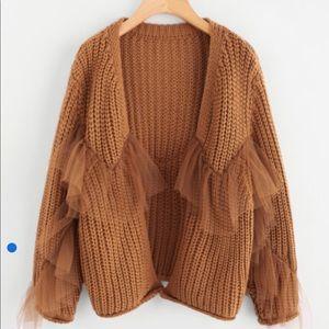Sweaters - Ruffle Mesh Embellishing Open Front Cardigan